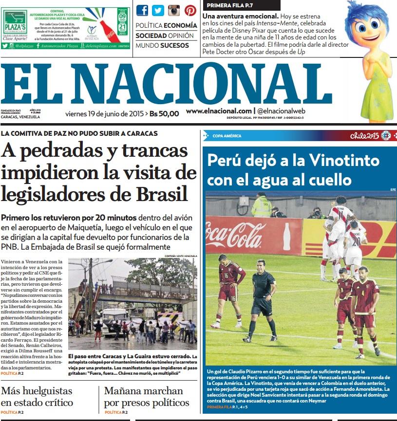 Capa do jornal venezuelano 'El Nacional', com destaque para a visita dos senadores brasileiros