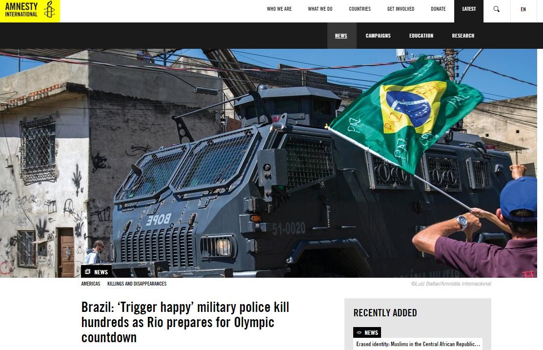 Anistia Internacional diz que polícia do Rio é responsável por centenas de homicídios