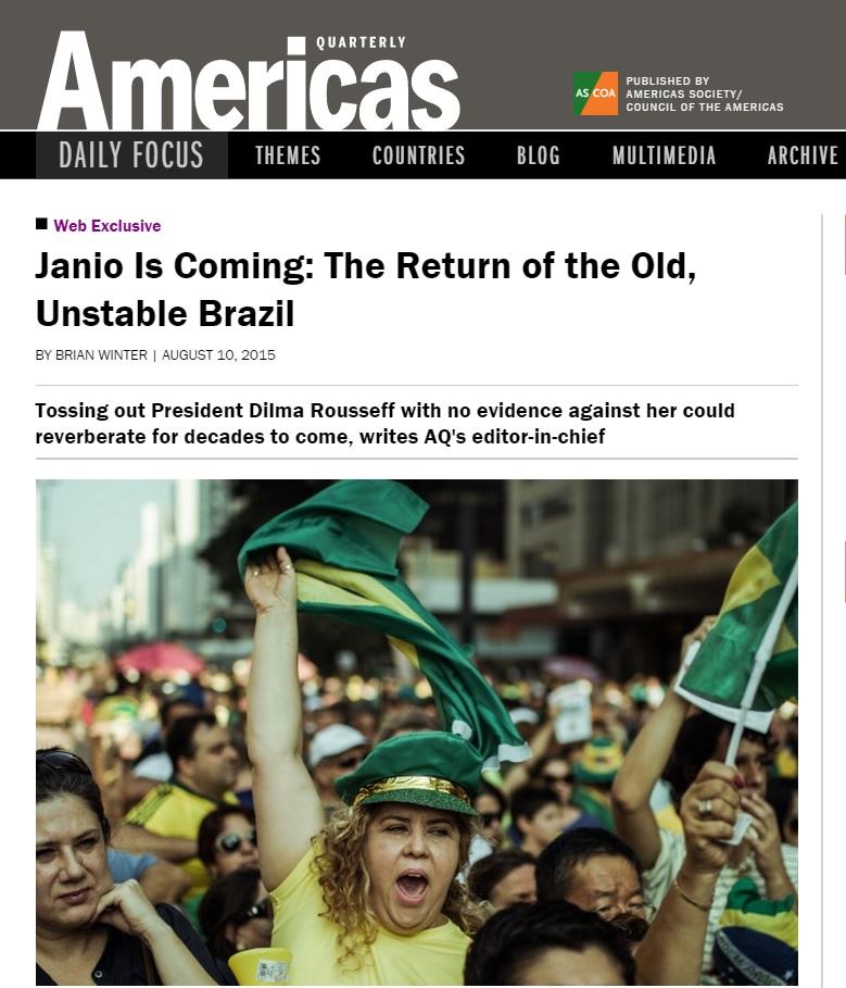 Análise da revista 'Americas Quaterly' sobre a crise política no Brasil