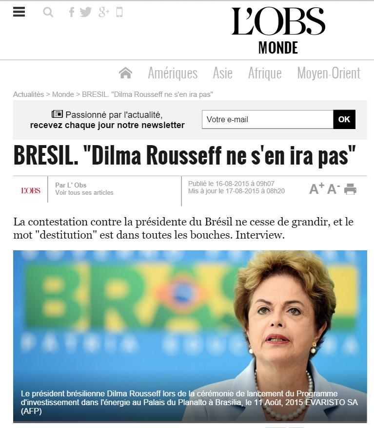 A revista francesa 'Nouvel Observateur' diz que mesmo com protestos, 'Dilma não se vai'