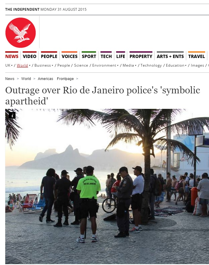 Reportagem do 'Independent' critica 'apartheid simbólico' no Brasil
