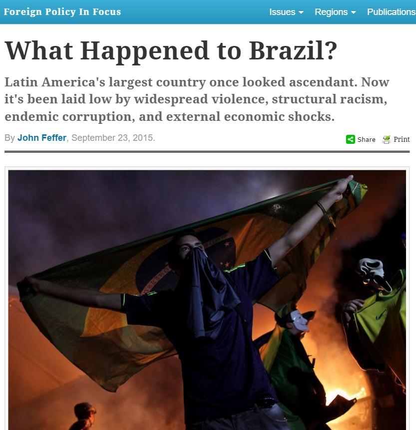 Violência, racismo, corrupção e crise resumem imagem do Brasil, diz revista de diplomacia