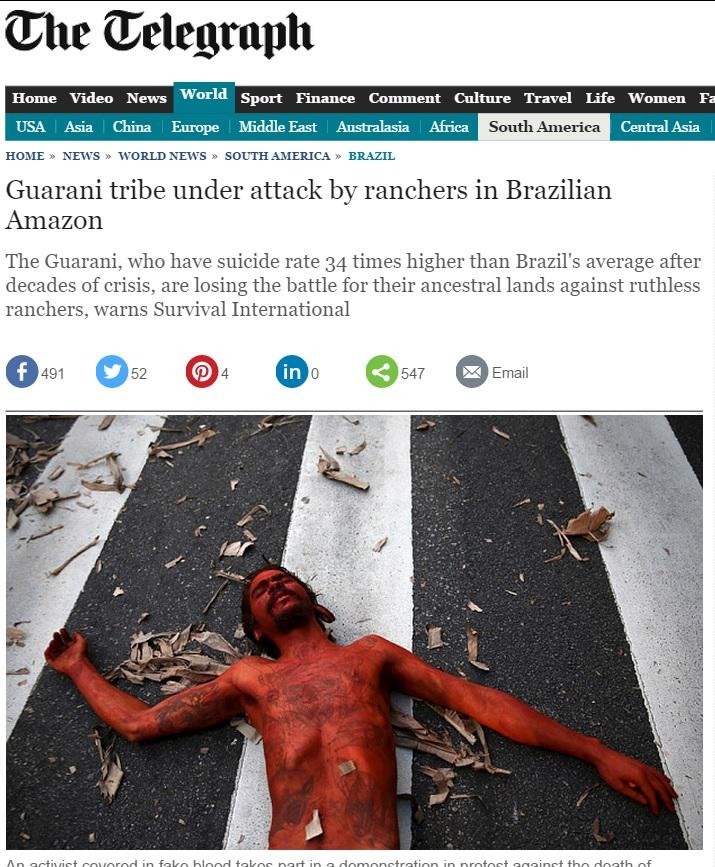 Reportagem do 'Telegraph' denuncia massacre de indígenas no Brasil