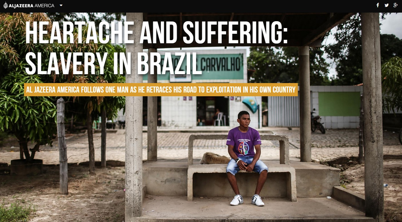 Capa da primeira reportagem da Al Jazeera sobre escravidão moderna no Brasil
