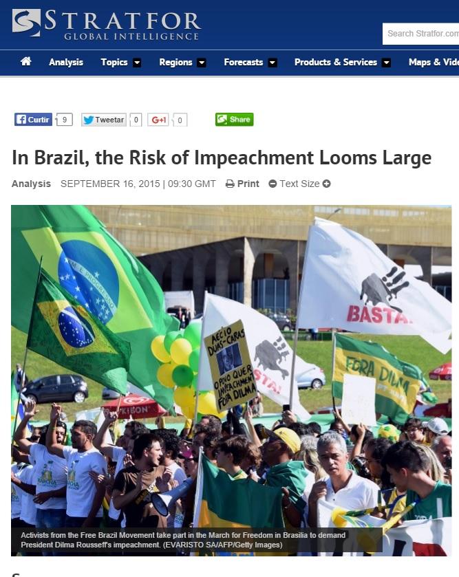 Análise da agência de inteligênncia geopolítica Stratfor aponta aumento no risco de impeachment no Brasil