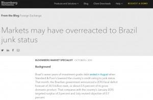 Texto da análise publicada pela 'Bloomberg' indicando que o mercado exagerou no pessimismo em relação ao Brasil