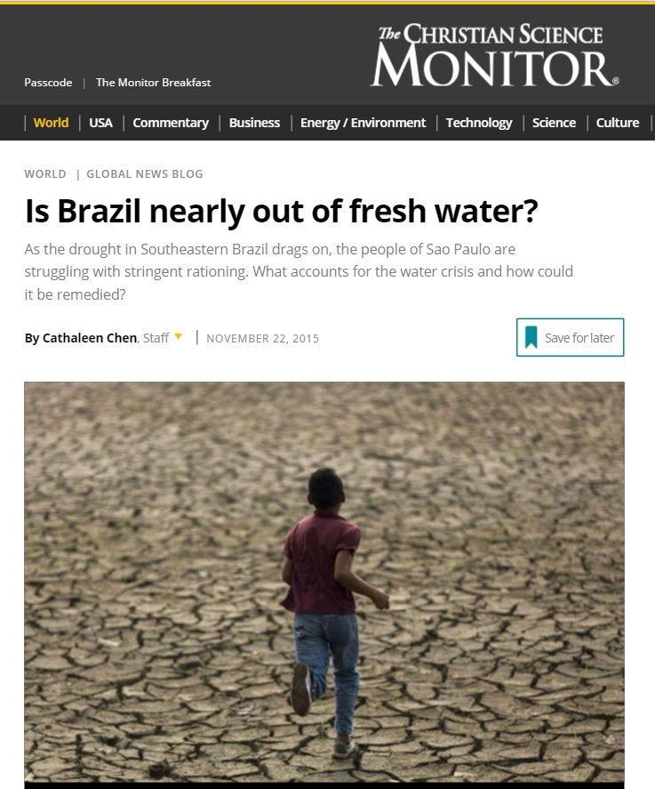 Reportagem do 'Christian Science Monitor' sobre a falta de água no país