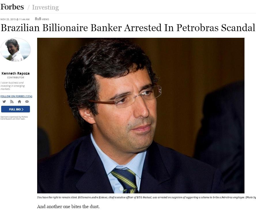 Reportagem da 'Forbes' sobre prisão de banqueiro