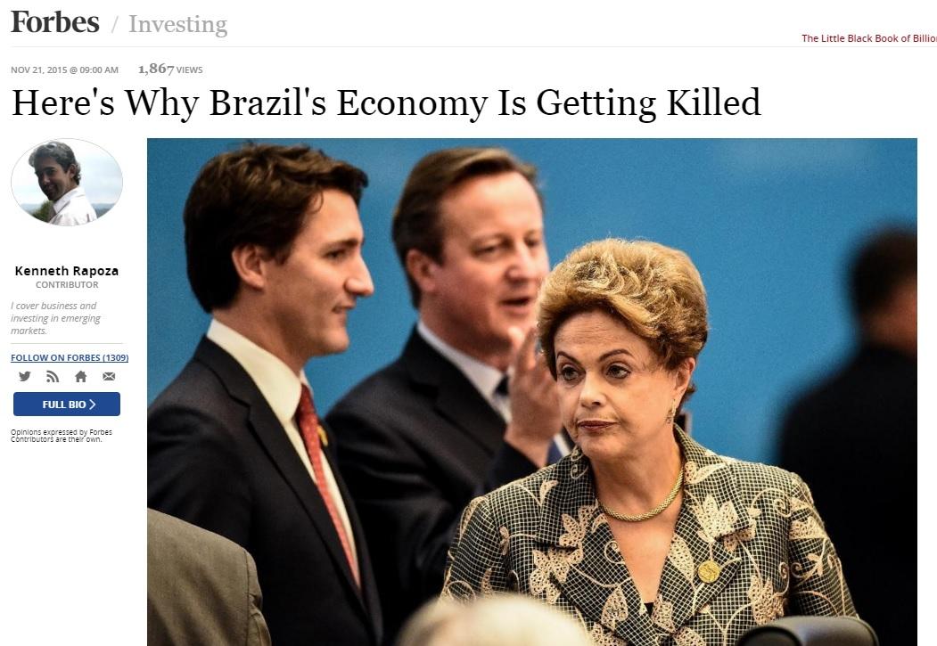 """""""Economia do Brasil está sendo morta por causa do PT"""", diz 'Forbes'"""