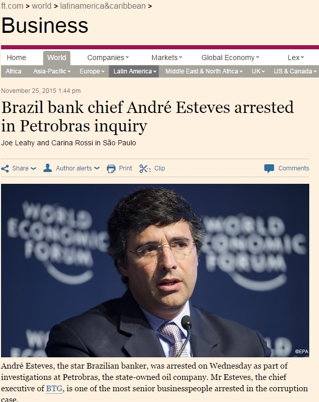 Reportagem do 'Financial Times' sobre prisão do banqueiro