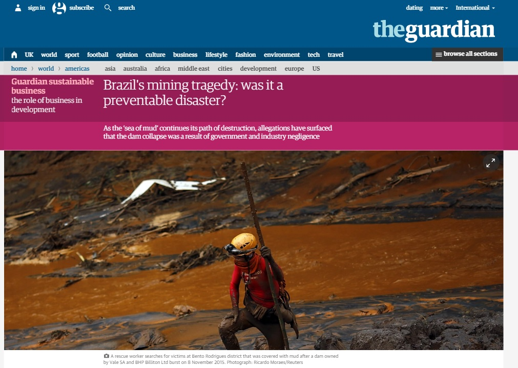 Deu no 'Guardian': Desastre de MG e imagens 'apocalípticas' poderiam ter sido evitados
