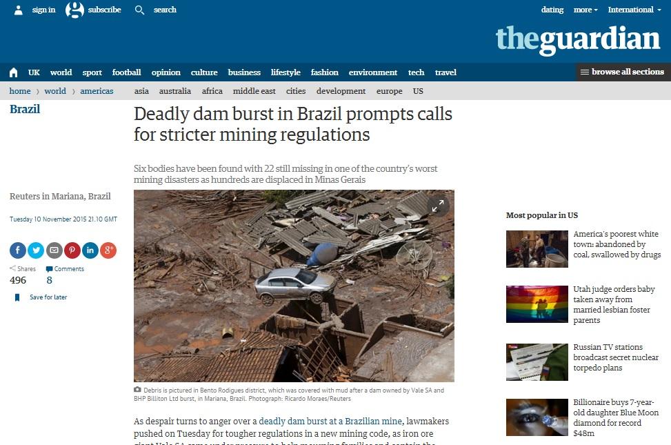 Reportagem da Reuters sobre o desastre publicada no