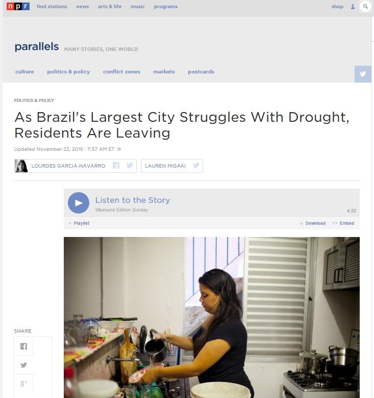 Seca faz vida sem água ser o 'novo normal' de São Paulo, diz rádio americana NPR