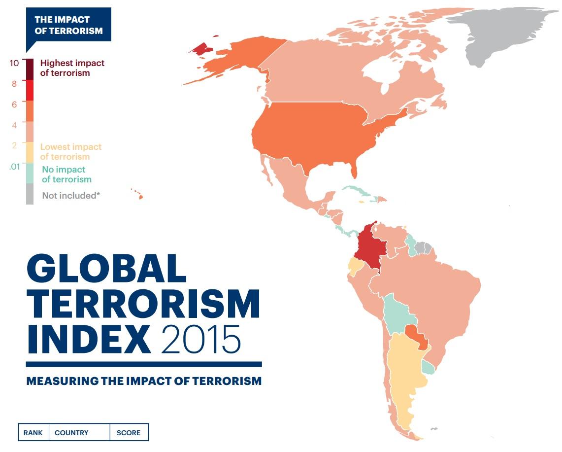 Mapa de pesquisa mostra o Índice de Terrorismo Global