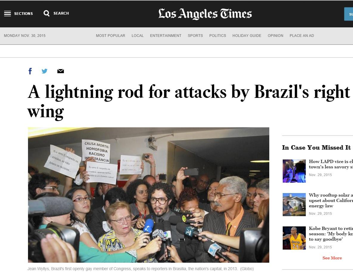 """Deu no 'LA Times"""": Jean Willys é o para-raios da direita brasileira"""