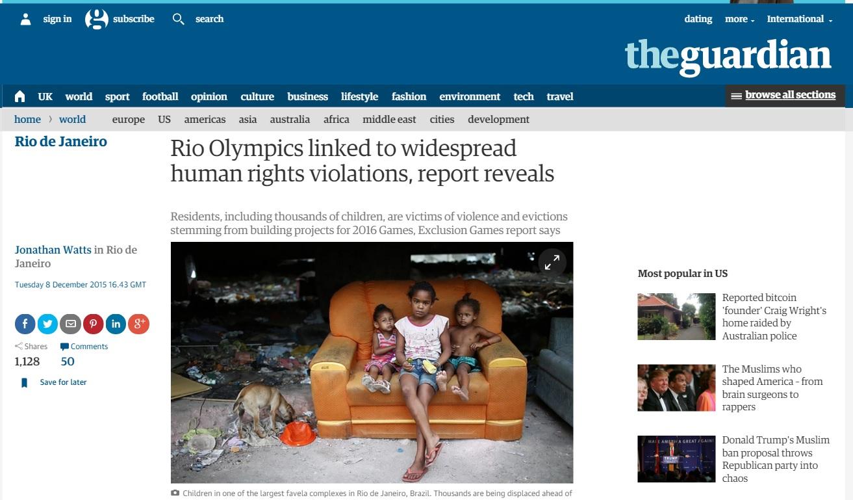 Deu no 'Guardian': Olimpíada do Rio já viola direitos humanos e exclui população mais pobre