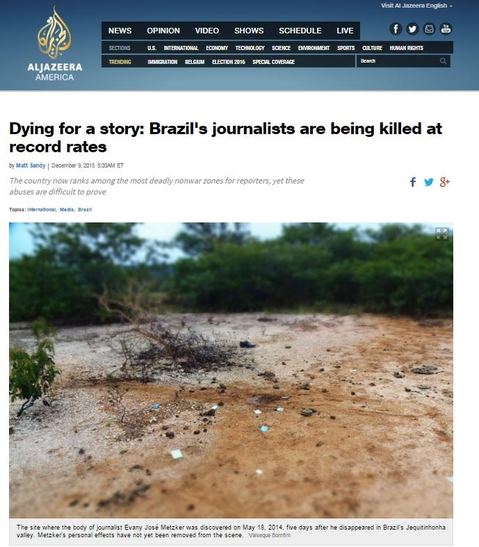 'Al Jazeera': Brasil só não é mais perigoso para jornalistas de que zonas de guerra