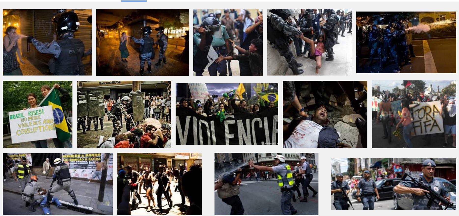As imagens da violência policial vistas pelo resto do mundo, em seleção a partir de busca no Google Images