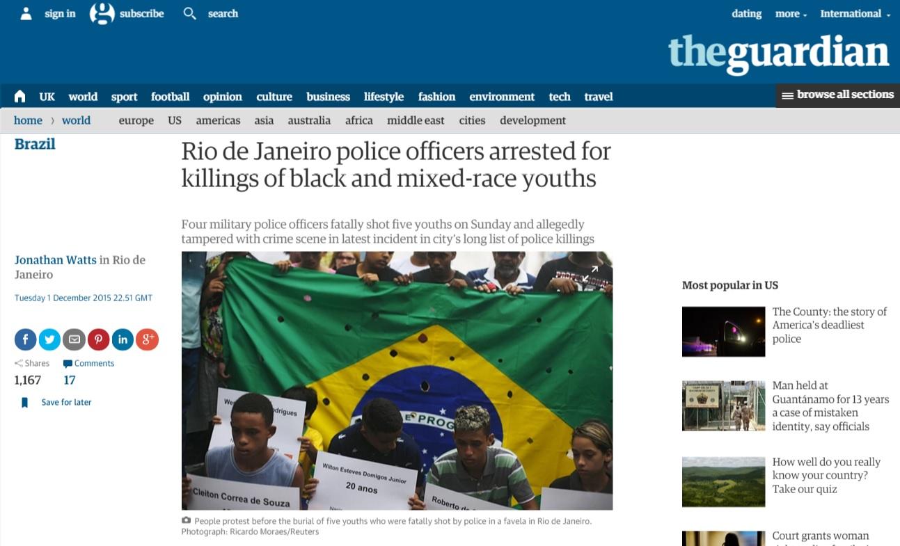Reportagem do 'Guardian' sobre morte de cinco jovens pela polícia no Rio