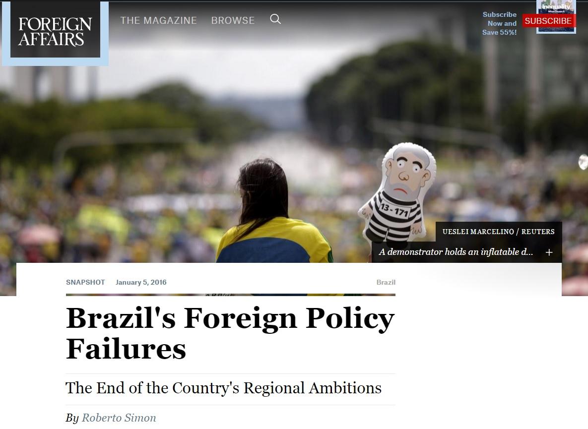 Revista de diplomacia analisa 'fracasso' da política externa do Brasil
