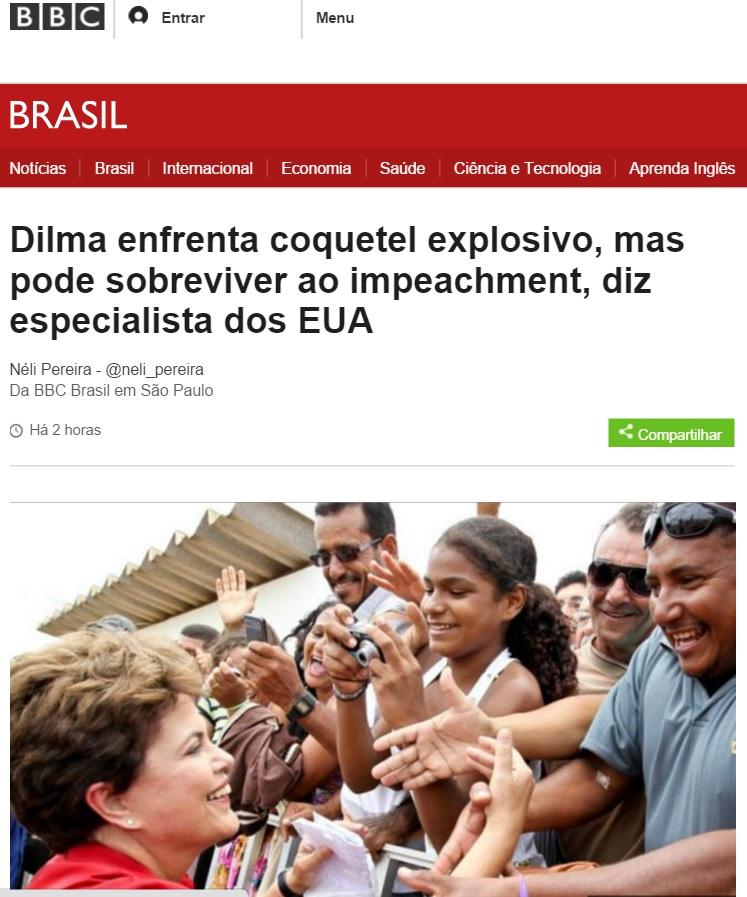 BBC: Especialista em impeachment diz que Dilma pode sobreviver no poder