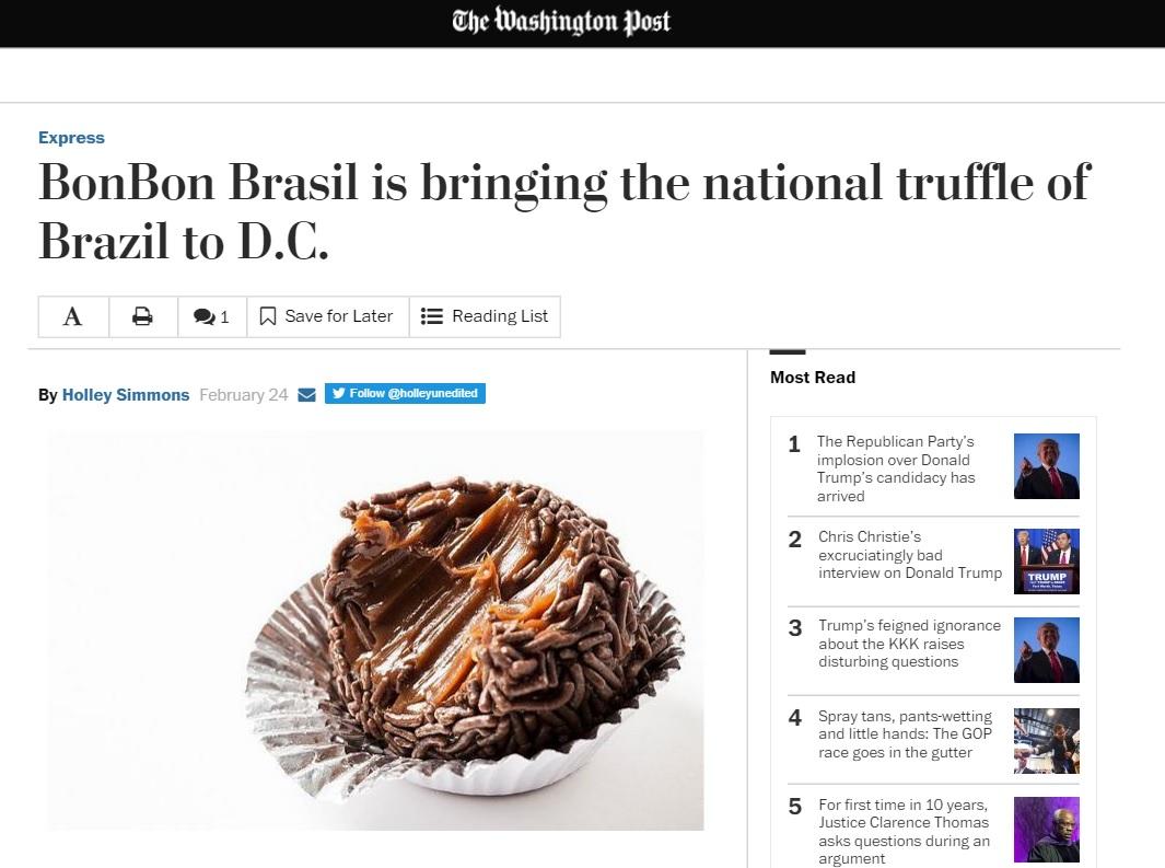 'Washington Post' celebra chegada de brigadeiros à capital dos EUA