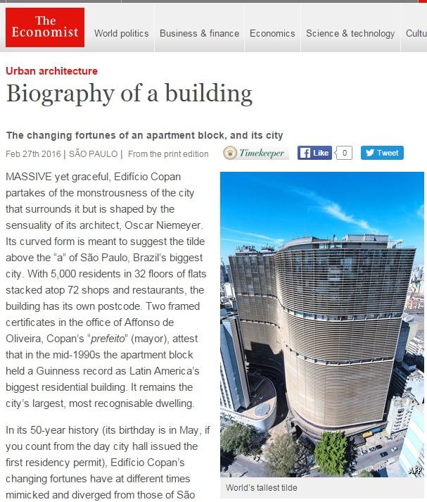 'Economist' conta história do edifício Copan, 'obra-prima' da arquitetura