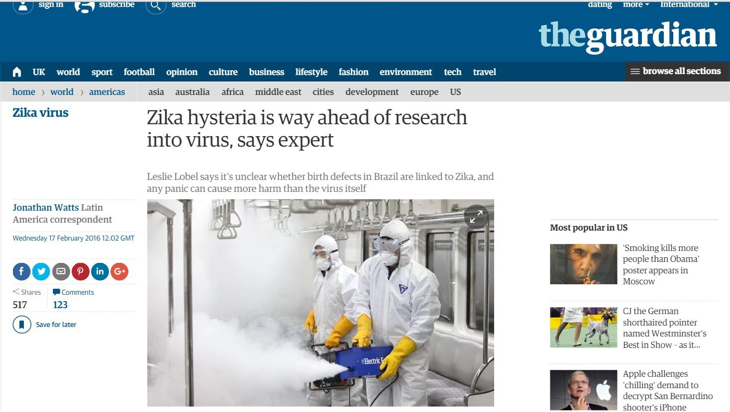'The Guardian' cita histeria por conta do zika no Brasil