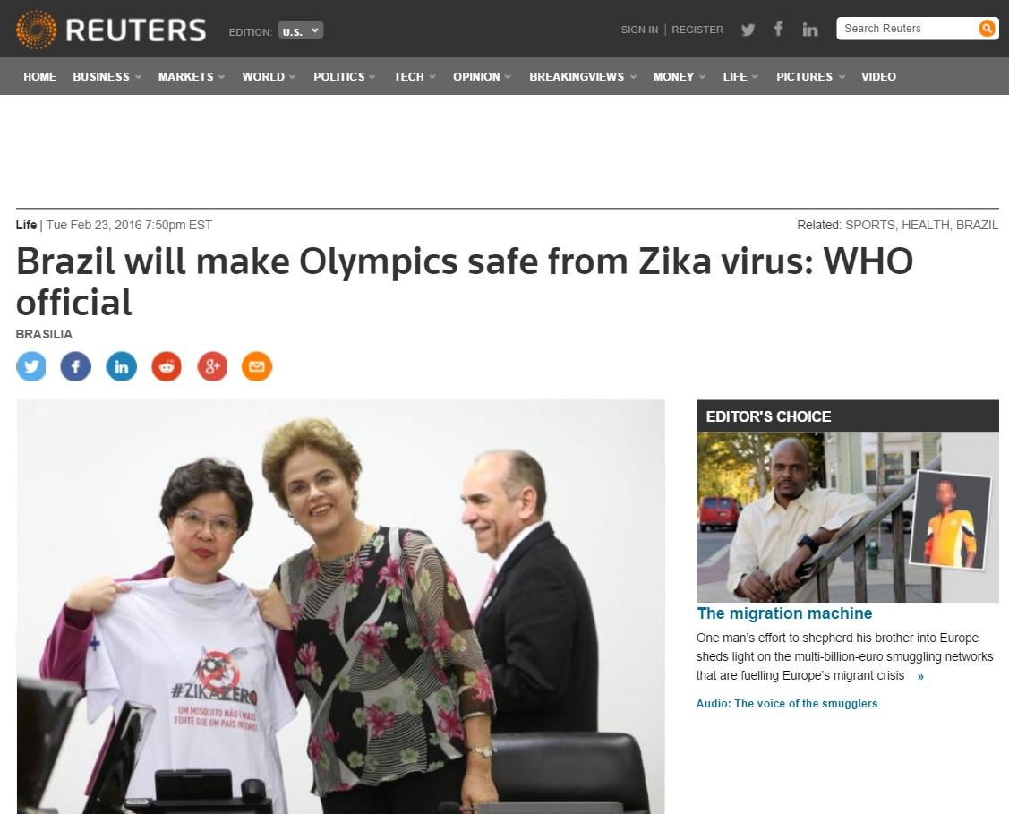 Diretora da OMS diz confiar que Brasil terá Olimpíada livre de zika