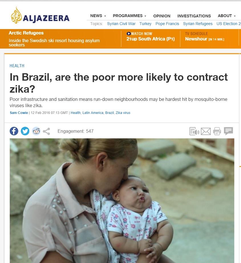Pobreza favorece surto de zika no Brasil, diz 'Al Jazeera'