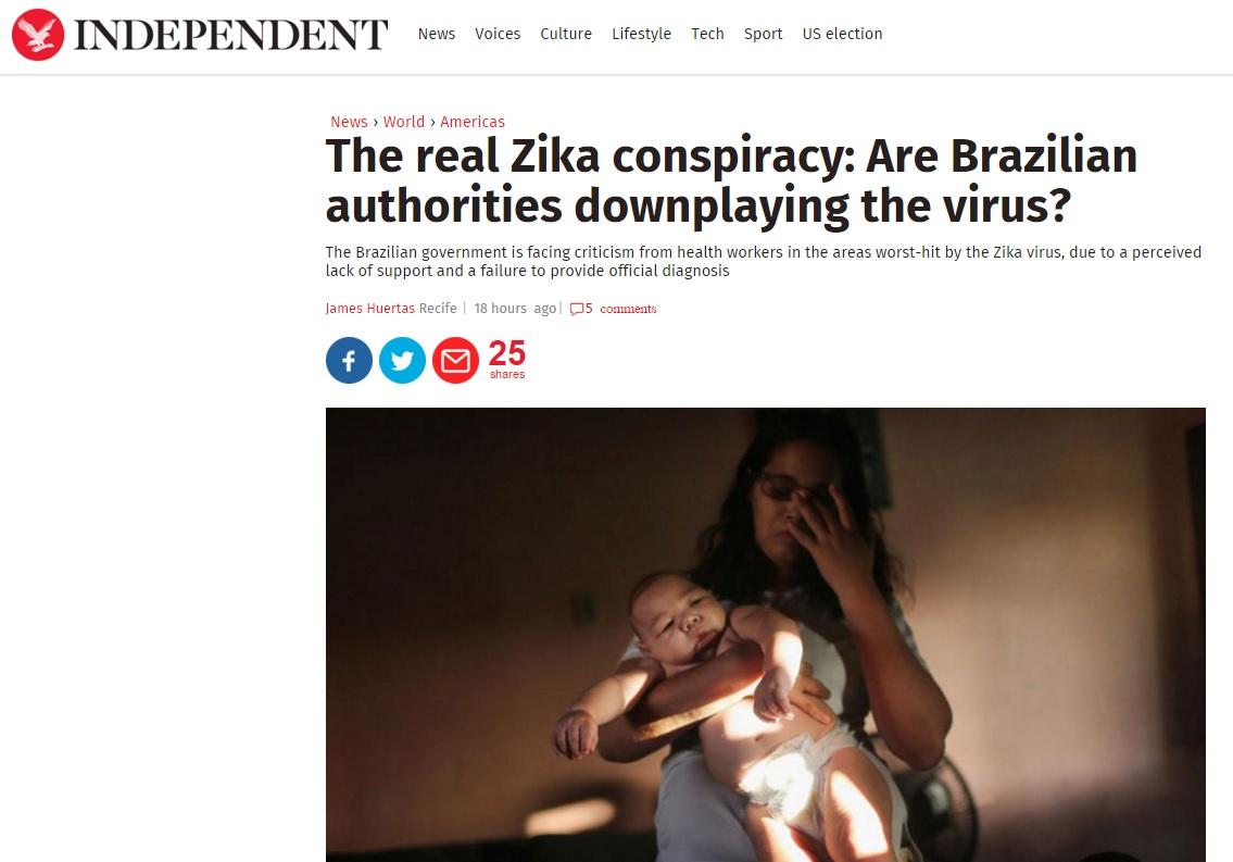 Jornal inglês acusa Brasil de ter 'conspiração' ao minimizar risco do zika