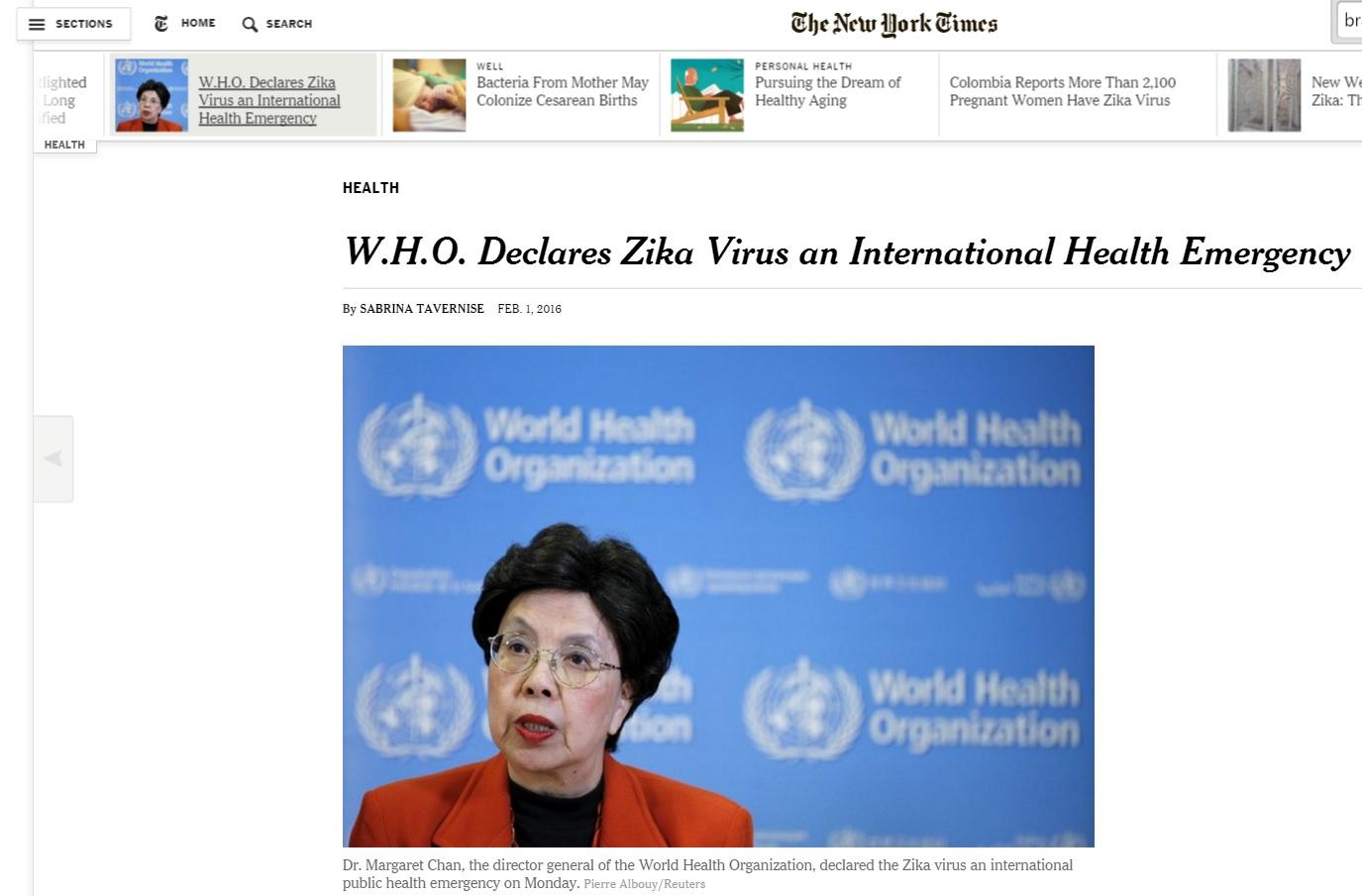OMS declara zika uma emegência internacional, em reportagem do 'New York Times'