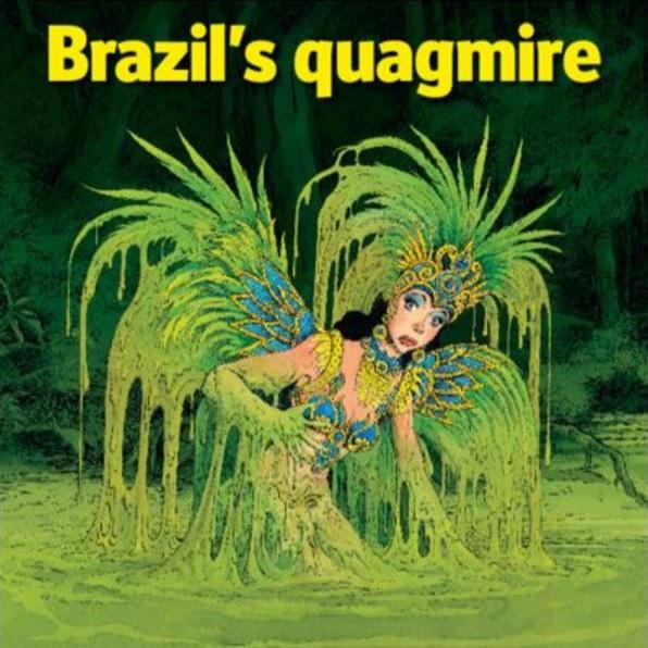 """Capa de edição da revista """"The Economist"""", de fevereiro de 2015 mostra o Brasil em um atoleiro"""