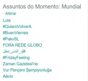 O termo 'Lula' no topo dos assuntos mais comentados no Twitter global