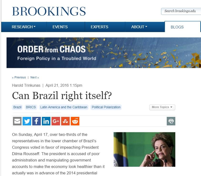 Harold Trinkunas: Crises enfraquecem aspirações globais do Brasil