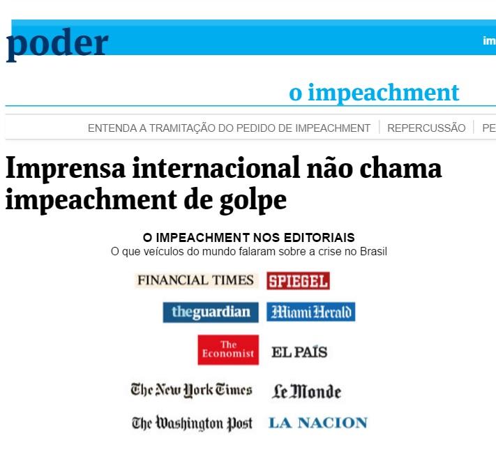 Deu na 'Folha': Imprensa internacional não chama impeachment de golpe