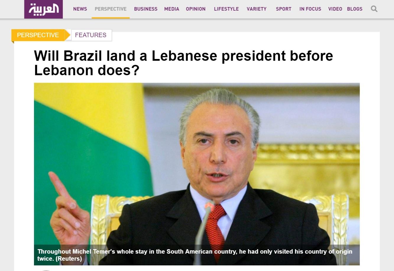 Deu no 'Al Arabiya': Brasil pode ter um presidente libanês