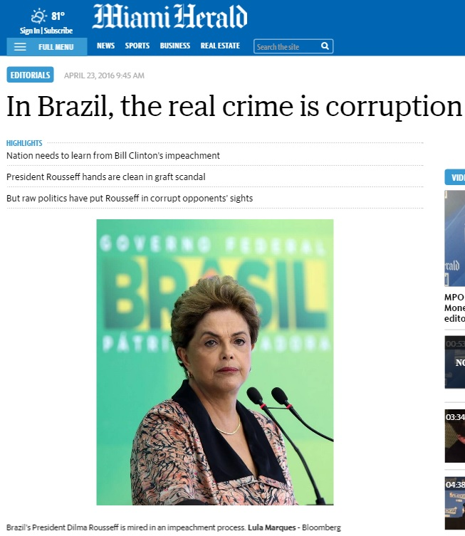 Editorial do 'Miami Herald' diz que impeachment é castigo desproporcional para governo ruim