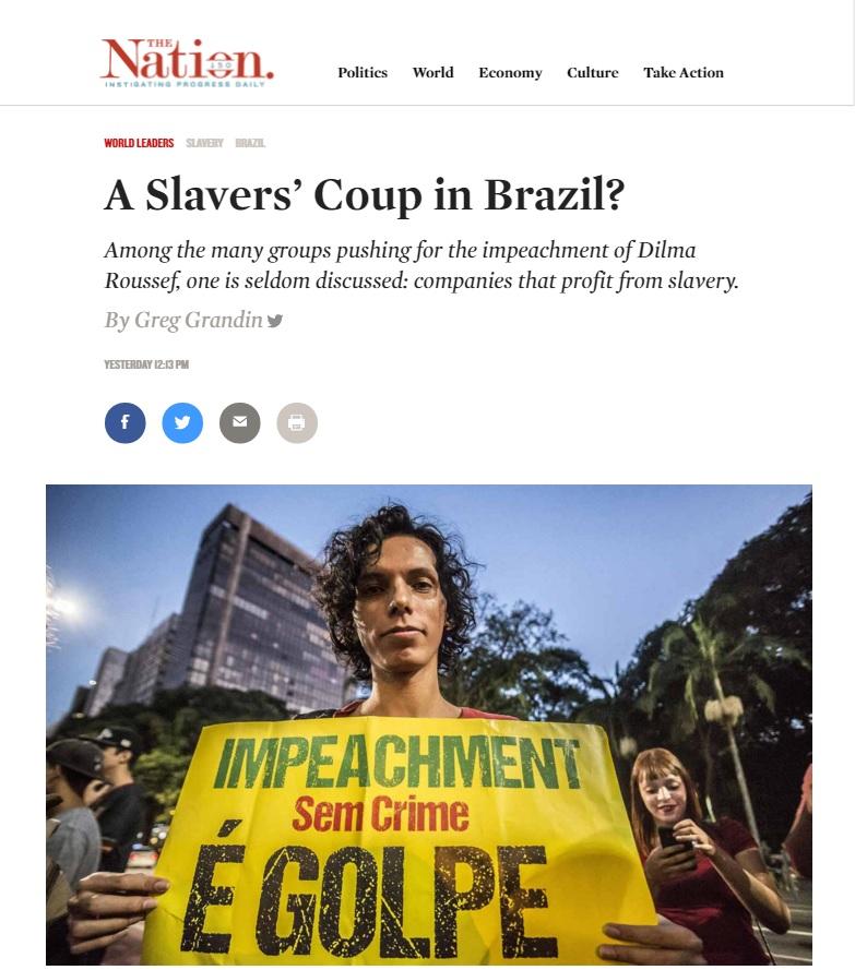 Greg Grandin: Impeachment de Dilma pode ser chamado de 'golpe escravagista'