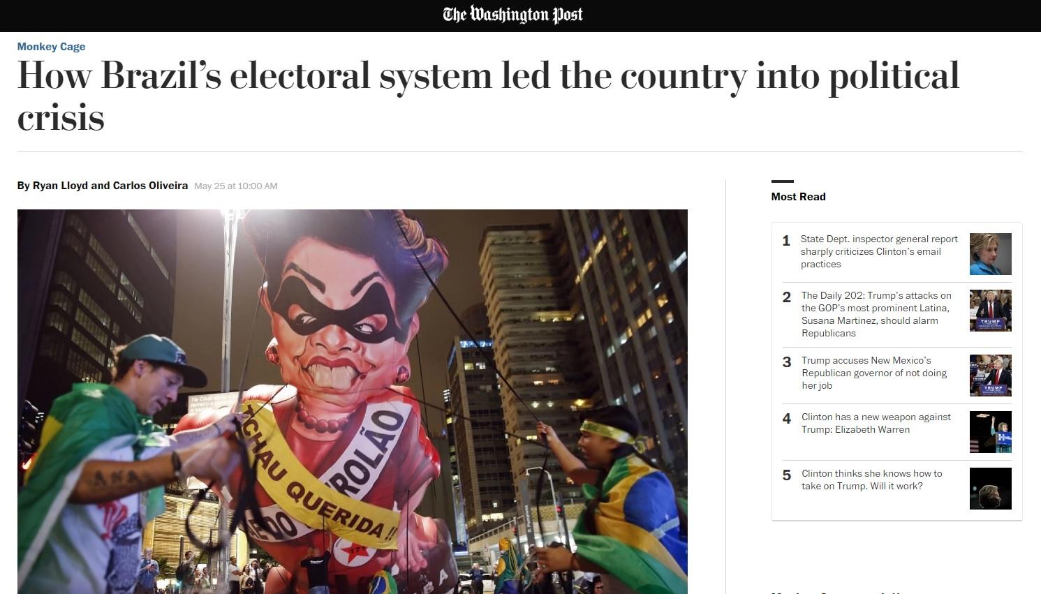 Sistema político é origem da crise vivida no Brasil, diz 'Washington Post'