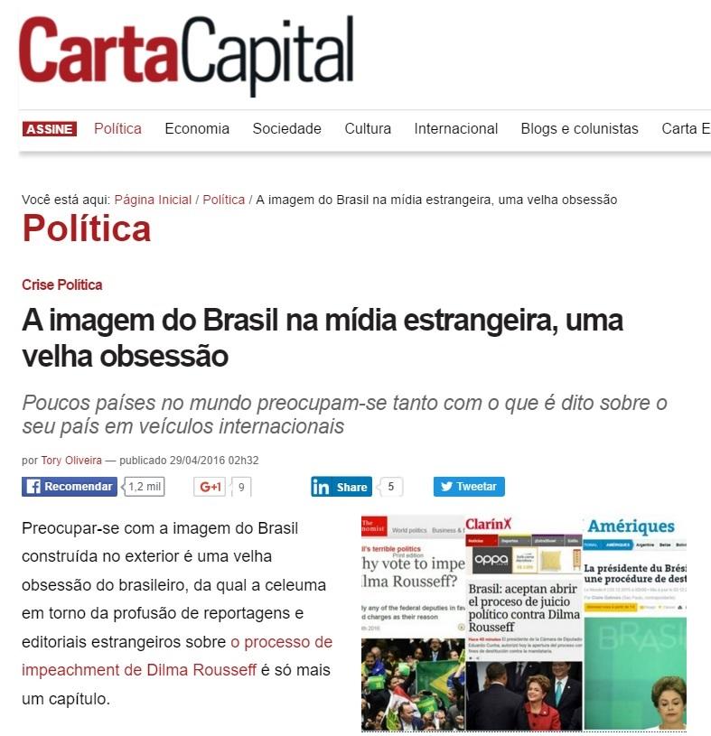 'Carta Capital': Imagem do Brasil na mídia estrangeira, uma velha obsessão