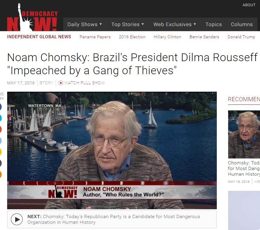 Noam Chomsky: 'Gangue de ladrões' afastou Dilma da Presidência