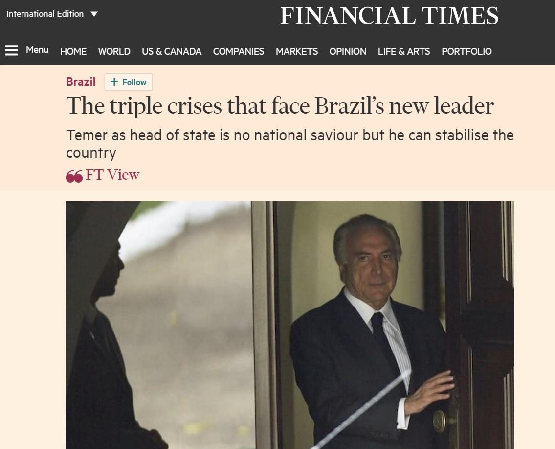 Editorial do 'Financial Times' sobre o impeachment