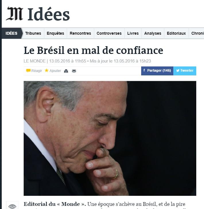 Editorial do 'Monde' sobre impeachment no Brasil