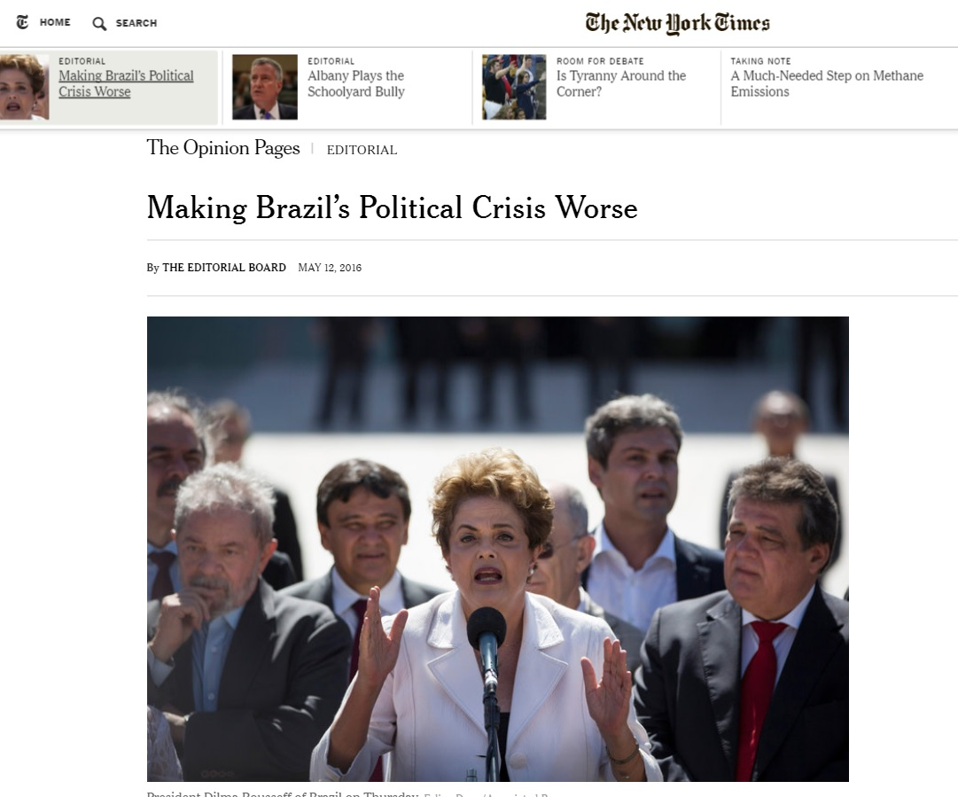 Editorial do 'New York Times' sobre o impeachment