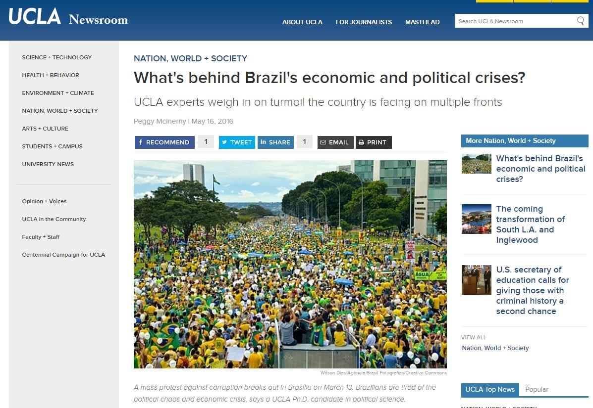Debate na UCLA indica que crises afetarão toda a classe política brasileira