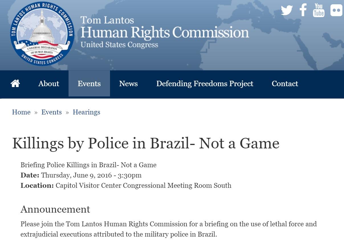 Congresso dos EUA discute violência policial no Brasil