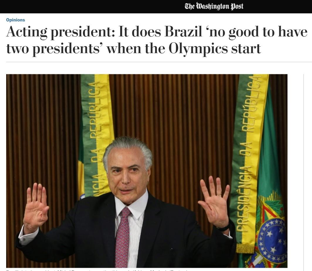 'Não chamaria Dilma de corrupta', diz Temer em entrevista ao 'Washington Post'
