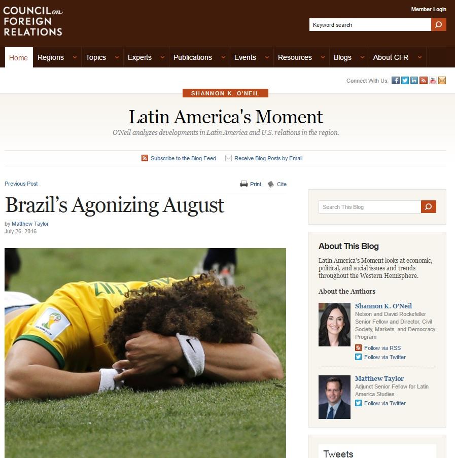 Matthew Taylor: Agosto vai ser um mês de tumulto e estresse no Brasil