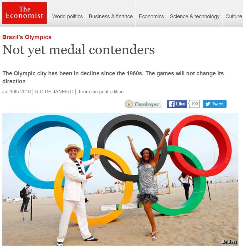 'Economist': Olimpíada não vai interromper décadas de declínio do Rio